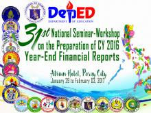 Seminar-Workshop on the CY 2016 Year-End National