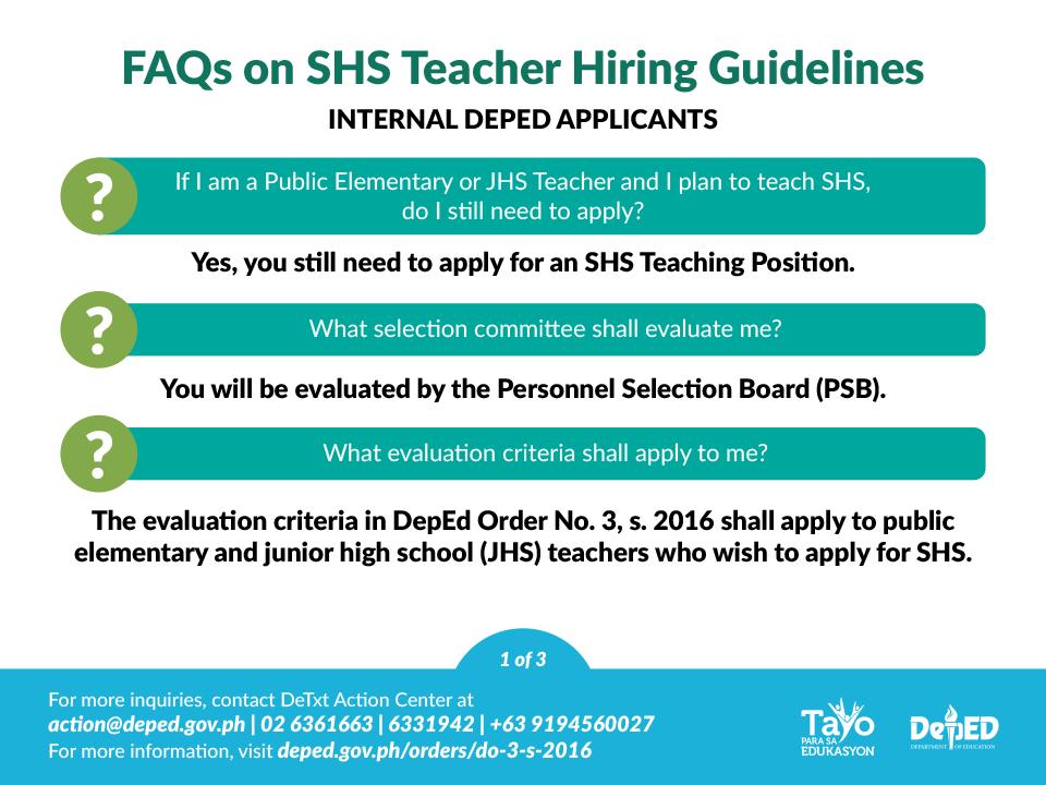 Senior High School Teacher Hiring Guidelines FAQs | Department of Education