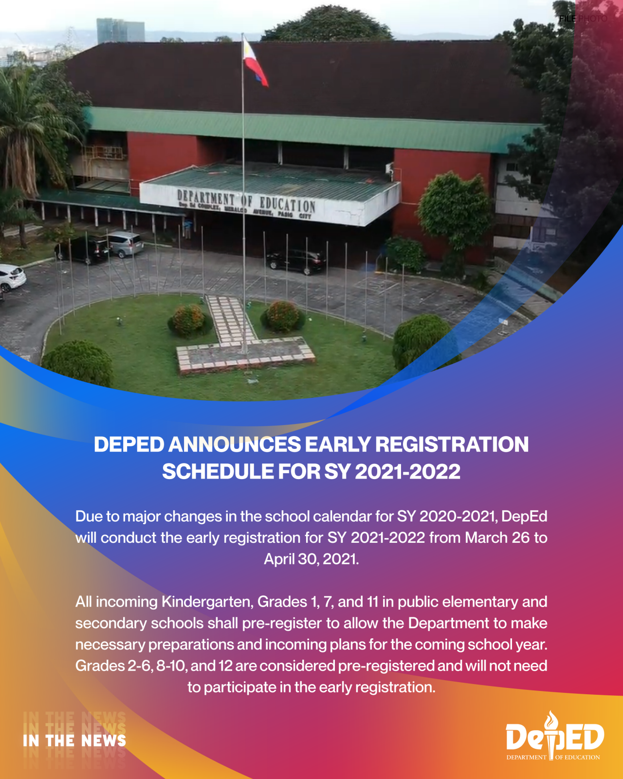 House Of Representatives Calendar 2022.Deped Announces Early Registration Schedule For Sy 2021 2022 Department Of Education